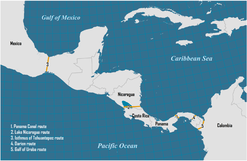 Possible routes for the Central American canals.